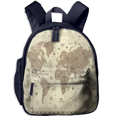 Mkajkkok Aged Retro Styled Map Of The World With Mountains Fantasy Monsters And Compass Decorative You Are My Sunshine Backpack 3D Printing School Bag.