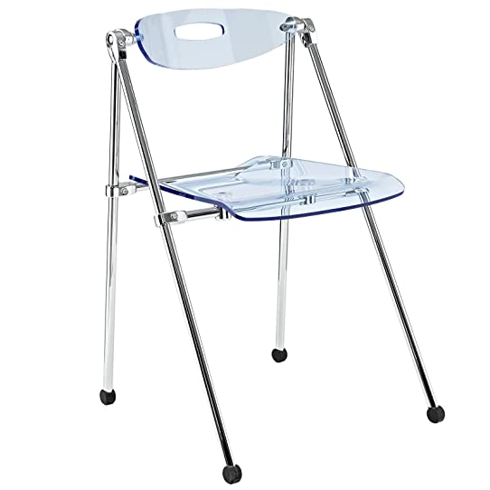 LexMod Telescoping Folding Chair, Light Blue
