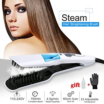 Amazon.com: Hair Straightener Electric Brush,Two - Sided Comb Anti-Scald 3D Ceramic Steam Comb Clip Wet And Dry Dual LCD Display Removable Water Tank ...