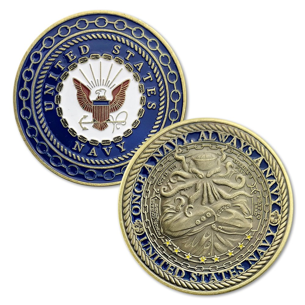 United States Navy Octopus Challenge Coin Once a Navy Always a Navy