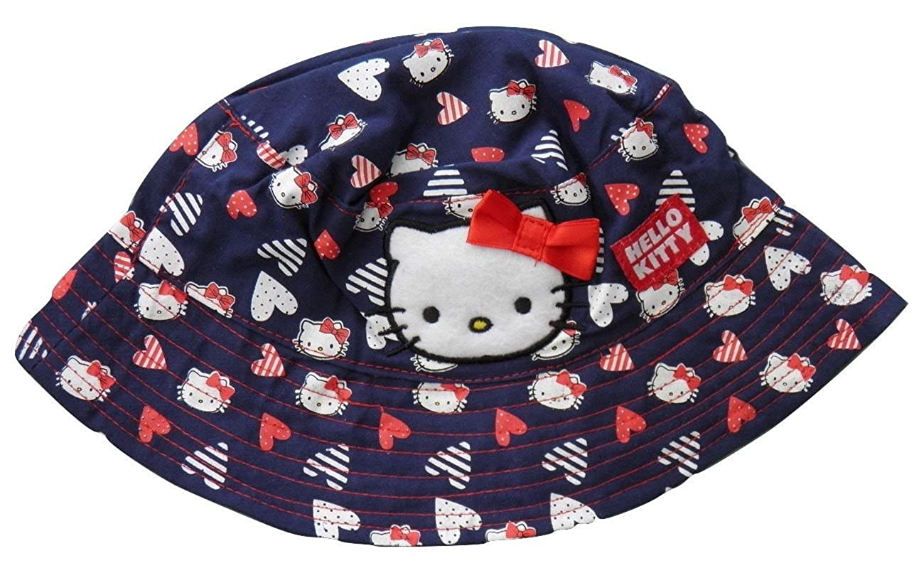 6b3c4e118e861 Girls Hello Kitty Navy Bucket  Fisherman Style Sun Hat Age 12-24 Month 1-2  Year  Amazon.co.uk  Clothing
