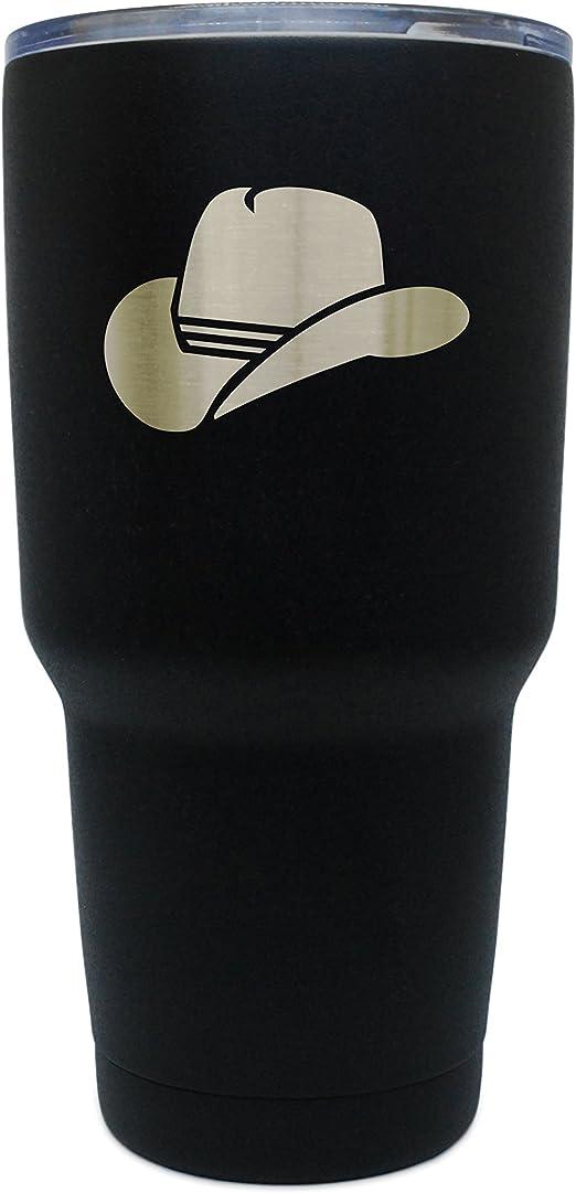 Sombrero de vaquera negro acero inoxidable vaso, 30 oz con ...