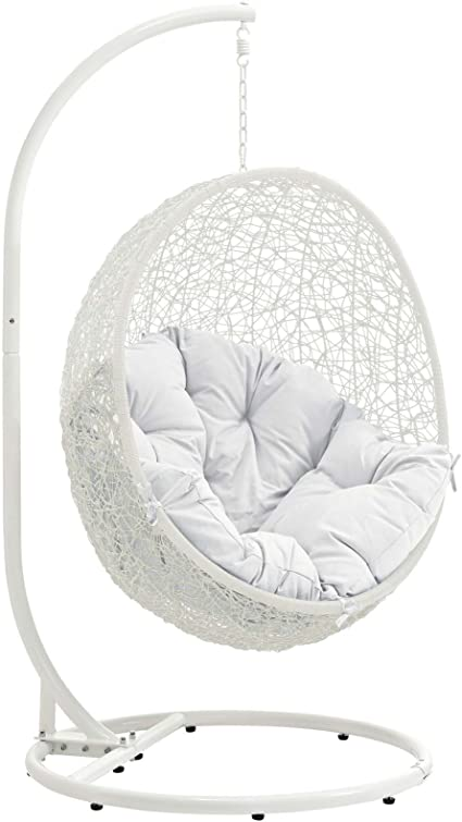 Amazon Com Modway Hide Wicker Rattan Outdoor Patio Porch Lounge Egg Swing Chair Set With Stand In White Garden Outdoor
