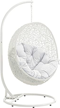 Modway Hide Wicker Rattan Outdoor Patio Porch Lounge Egg Swing Chair Set With Stand In White Amazon Co Uk Garden Outdoors