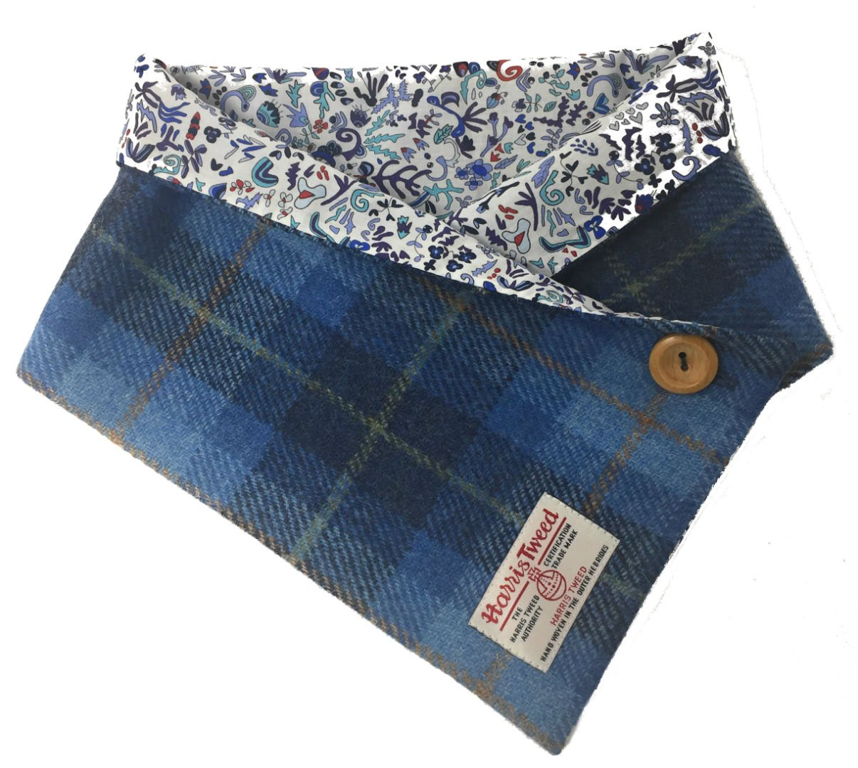 Harris Tweed Cowl Neck Warmer with Luxury Liberty Cotton Lining (Blue) by Scott and MacKenzie
