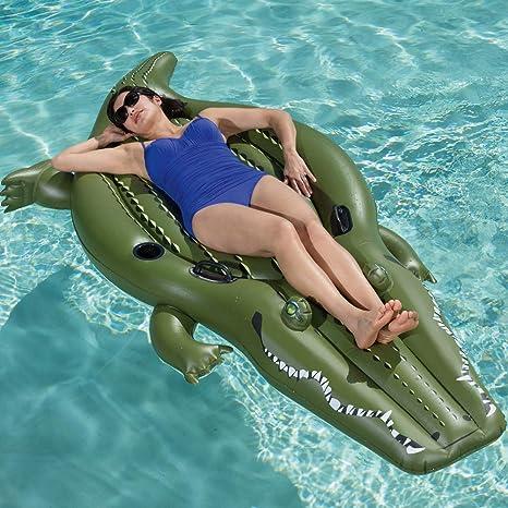 HYQ Inflable Piscina De Cocodrilos del Flotador, Flotador Inflable Gigante Tumbona Piscina del Flotador por Un Flotador De Playa con El Pedal De Aire De Bomba (102X41in): Amazon.es: Deportes y aire libre