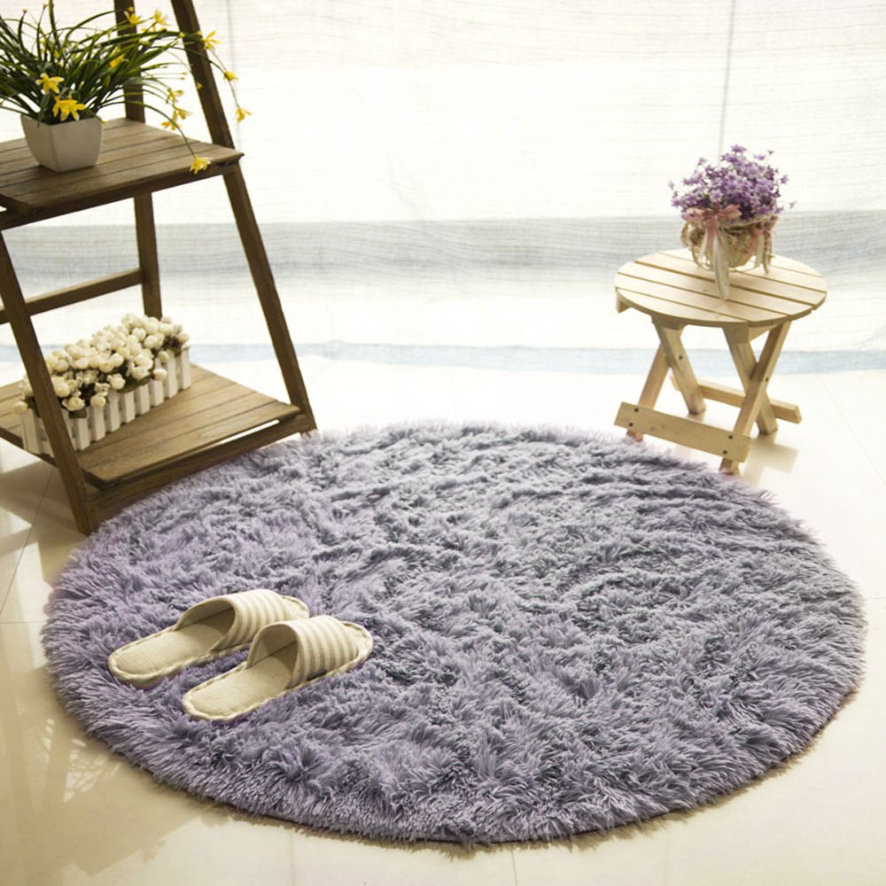 MIFXIN Fluffy Rugs for Living Room Super Soft Round Area Rugs Carpet Doormat Floor Mat Bedroom Kitchen Sofa Cushion Non-Slip Foot Pad Rug (100100, Grey)