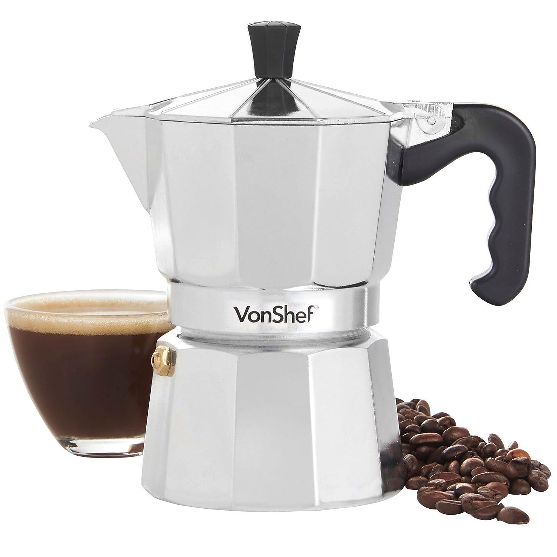 VonShef italienischer Kaffee oder Mokka -Maker 3 Tassen Herdplatte Macchinetta enthä lt eine Ersatzdichtung und Filter