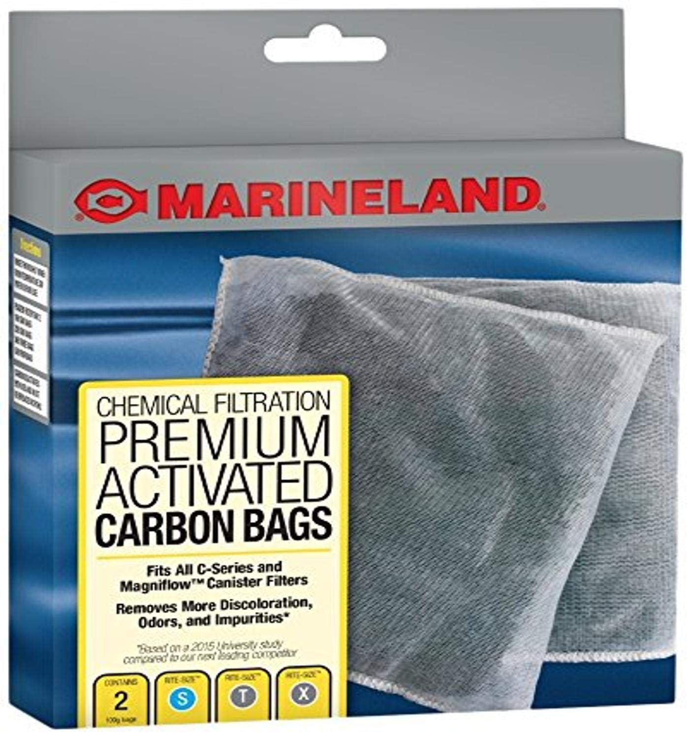 MarineLand Premium Activated Carbon Bags, for Chemical Filtration in Aquariums