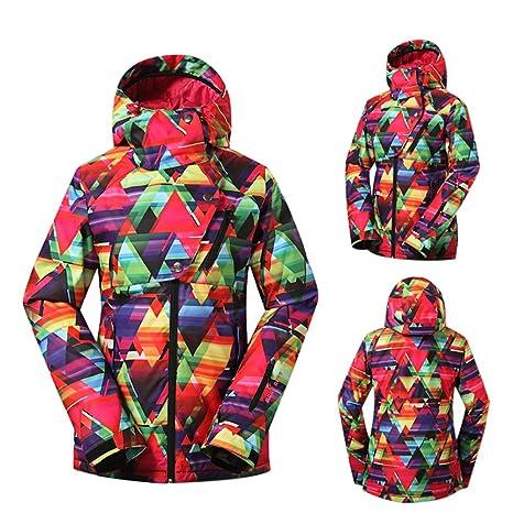 Fuyingda Mujeres Invierno Al Aire Libre Hoodies Traje de Esquí Impermeable Chaqueta de Snowboard Abrigos RojoXS