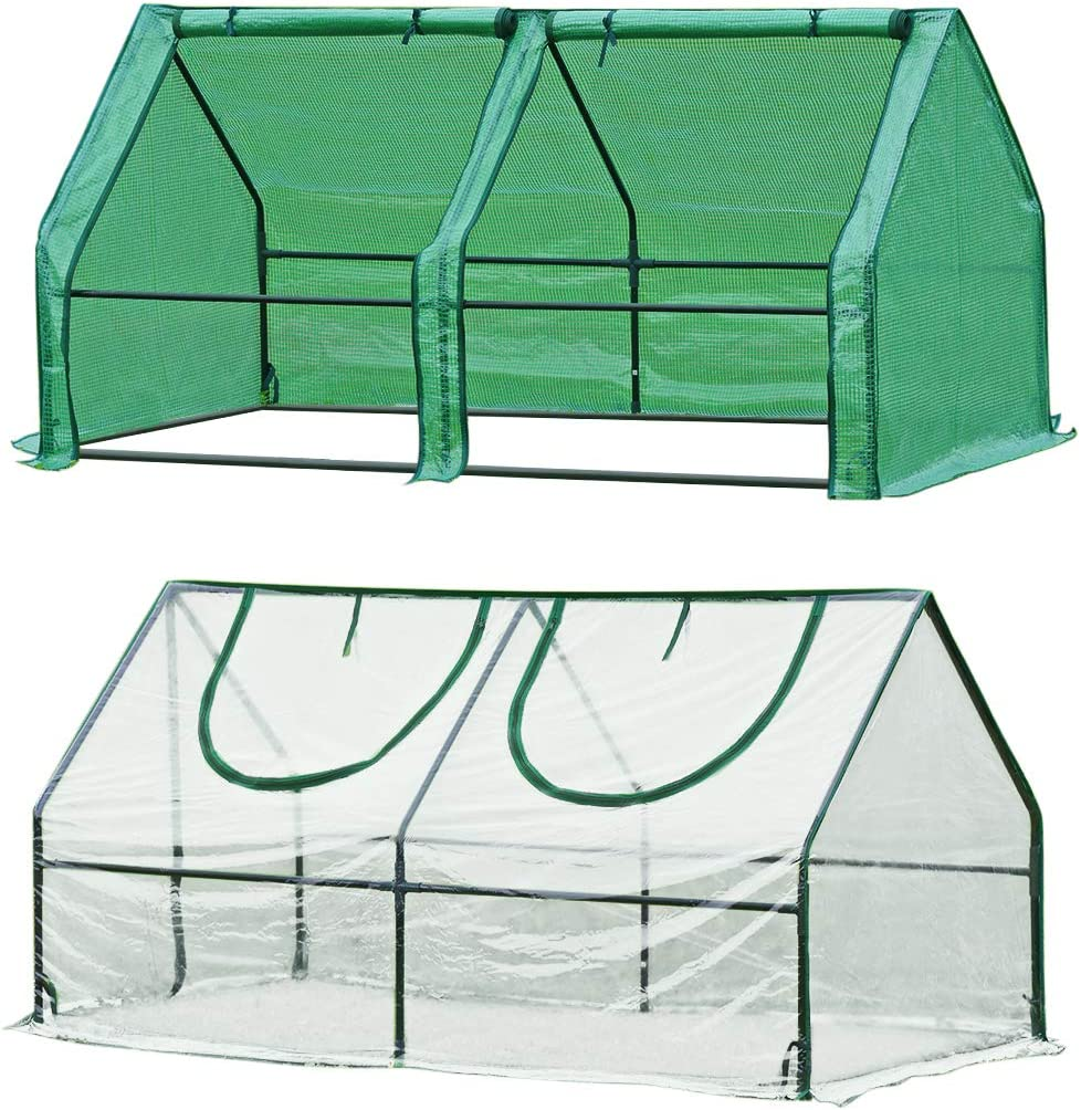 Quictent 2 Covers Waterproof UV Protected Reinforced Mini Cloche Greenhouse 71 WX 36 D X 36 Portable Green Hot House- 50 Pcs T-Type Plant Tags Include