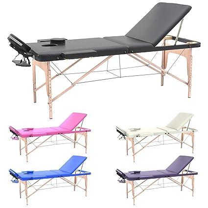 Lettino Da Massaggio Dimensioni.Lettino Massaggio Professionale Lettino Estetista 3 Zone In Legno Dimensione Xl 195 X 70 Cm Lettini Per Da Massaggi Portatili Pieghevoli Nero