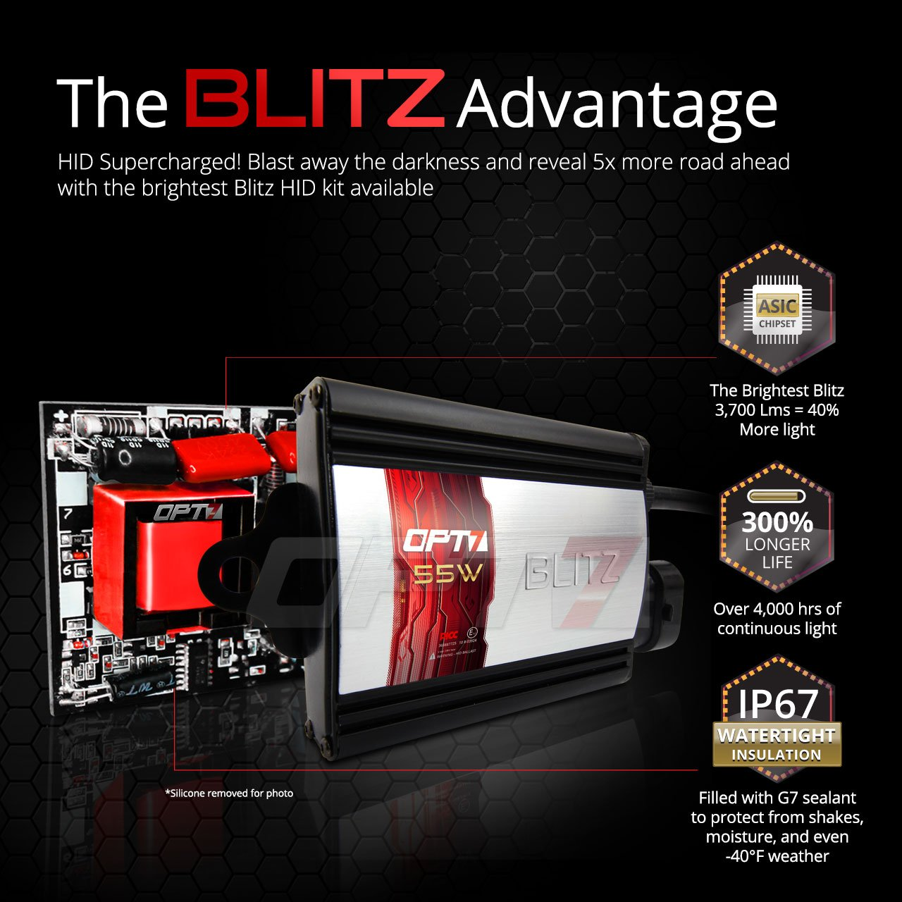 OPT7 Blitz 55W H7 HID Kit - 5X Brighter - 4X Longer Life - All Bulb Colors and Sizes - 2 Yr Warranty [5000K Pure White Xenon Light]