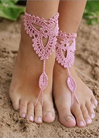 crochet black barefoot sandalsbeach poolnude shoesfoot jewelryfootless sandles