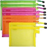 8 Pcs Zipper Mesh File Bags Folder Document Pockets with Bill B5 A5 A6 Size, AFUNTA 4 Color 4 Size Nylon Pencil Case…