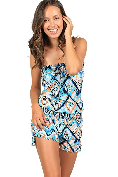 6dc9962aa2 Ingear Printer Tie Dye Smocked Romper Cover Up (Large, Turquoise/White)