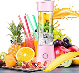 chusecure Portable Blender for Shakes and Smoothies Personal Blender Cup Mini Blender 16oz with Travel Lid 6 Blades Battery Operated USB Rechargeable for Sports Office Travel Gym Outdoors (Elegant Pink)