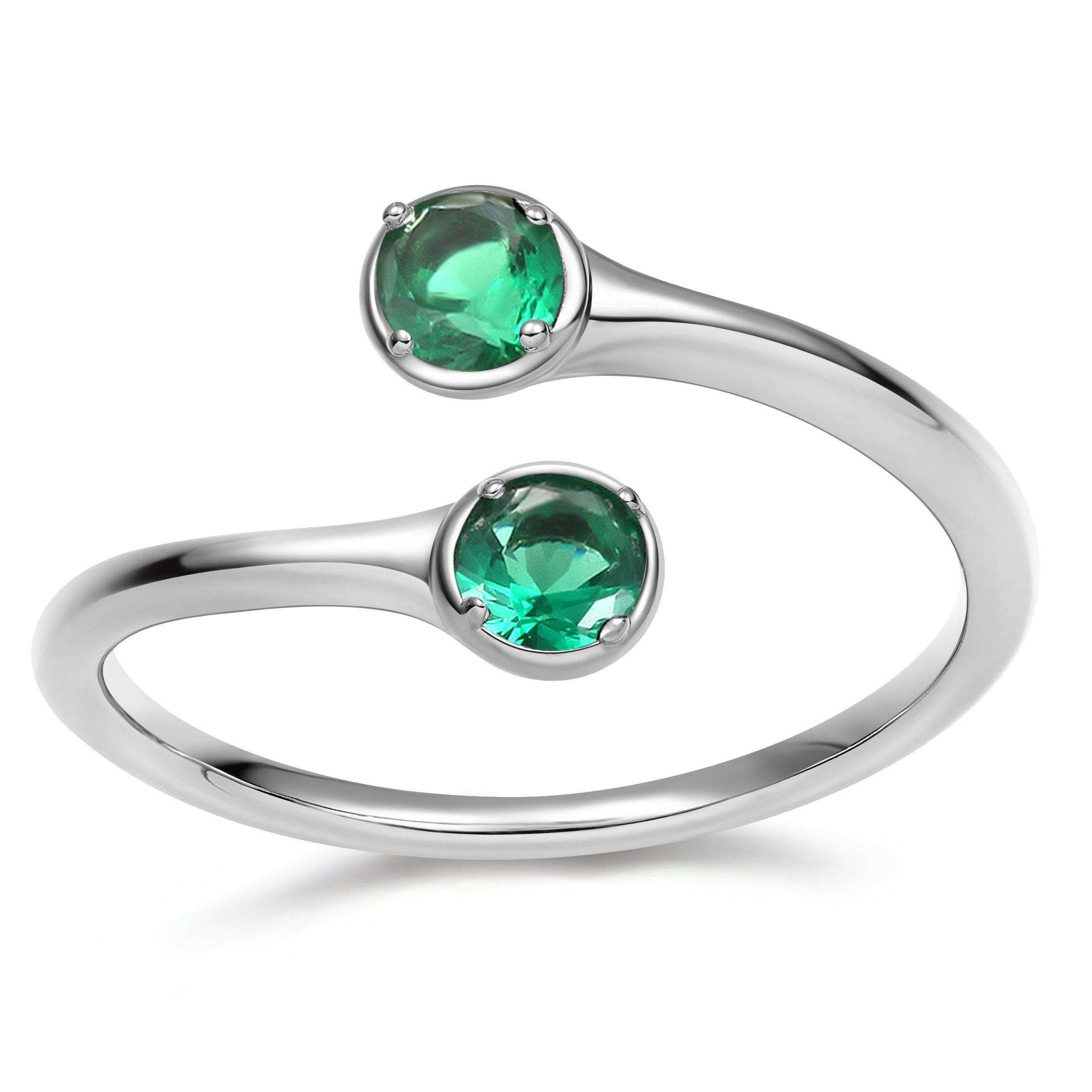 EAMTI Wrap Adjustable 925 Sterling Silver Emerald Cubic Zirconia May Birthstone Wedding Engagement Ring
