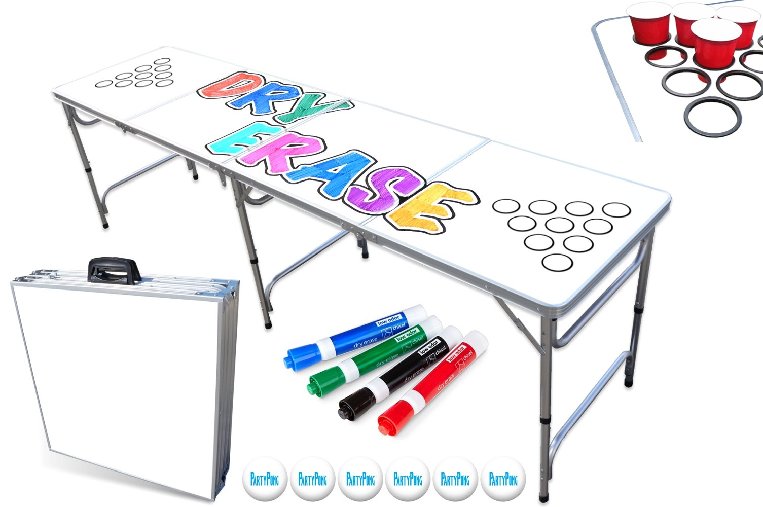 PartyPongTables 8-Foot Beer Pong Table with Cup Holes & Dry Erase Surface