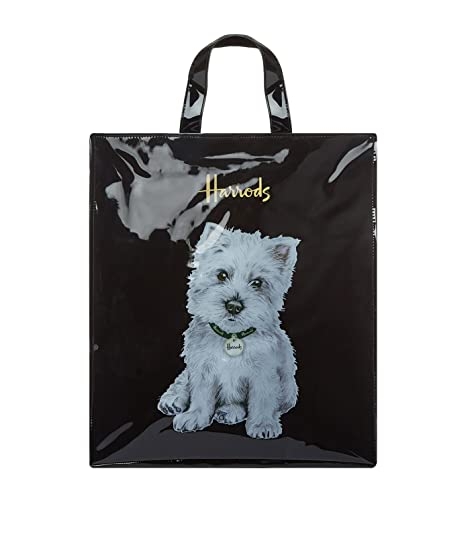 harrods Westie Puppy Large Shopper Bag - Borsa a mano nera in PVC -  chiusura con cernierao e taschino interno porta cellulare ID 5573462  Amazon .it  Scarpe ... f6f8bbd2e8e