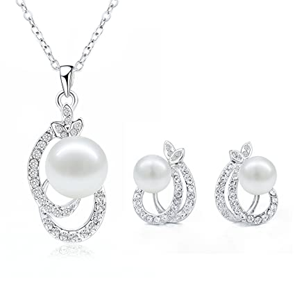 d477ca37eb Morenitor Jewelry Set Gold Plated Faux Pearl Pendant Necklace Dangle  Earring Stud Set Valentine's Day Jewelry Gifts for Women