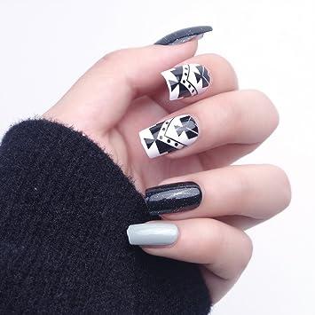 24pcs 12 diferentes tamaño geométrico misterio negro noche estrellada medio de color gris sólido largo cuadrado completo para uñas postizas con diseño: ...