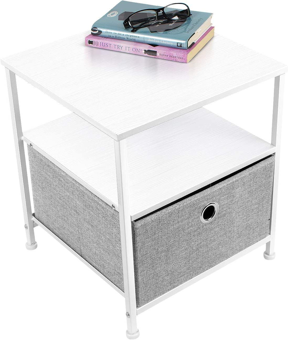 Sorbus Nightstand 1-Drawer Shelf Storage- Bedside Furniture Accent End Table Chest for Home, Bedroom, Office, College Dorm, Steel Frame, Wood Top, Easy Pull Fabric Bins White Gray