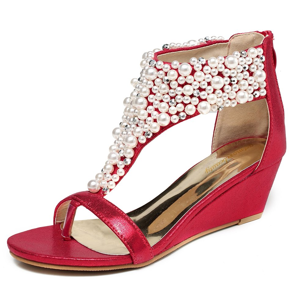 Women's Pearl Encrusted Open Toe Red Strap Back Zip Wedge Sandals - DeluxeAdultCostumes.com