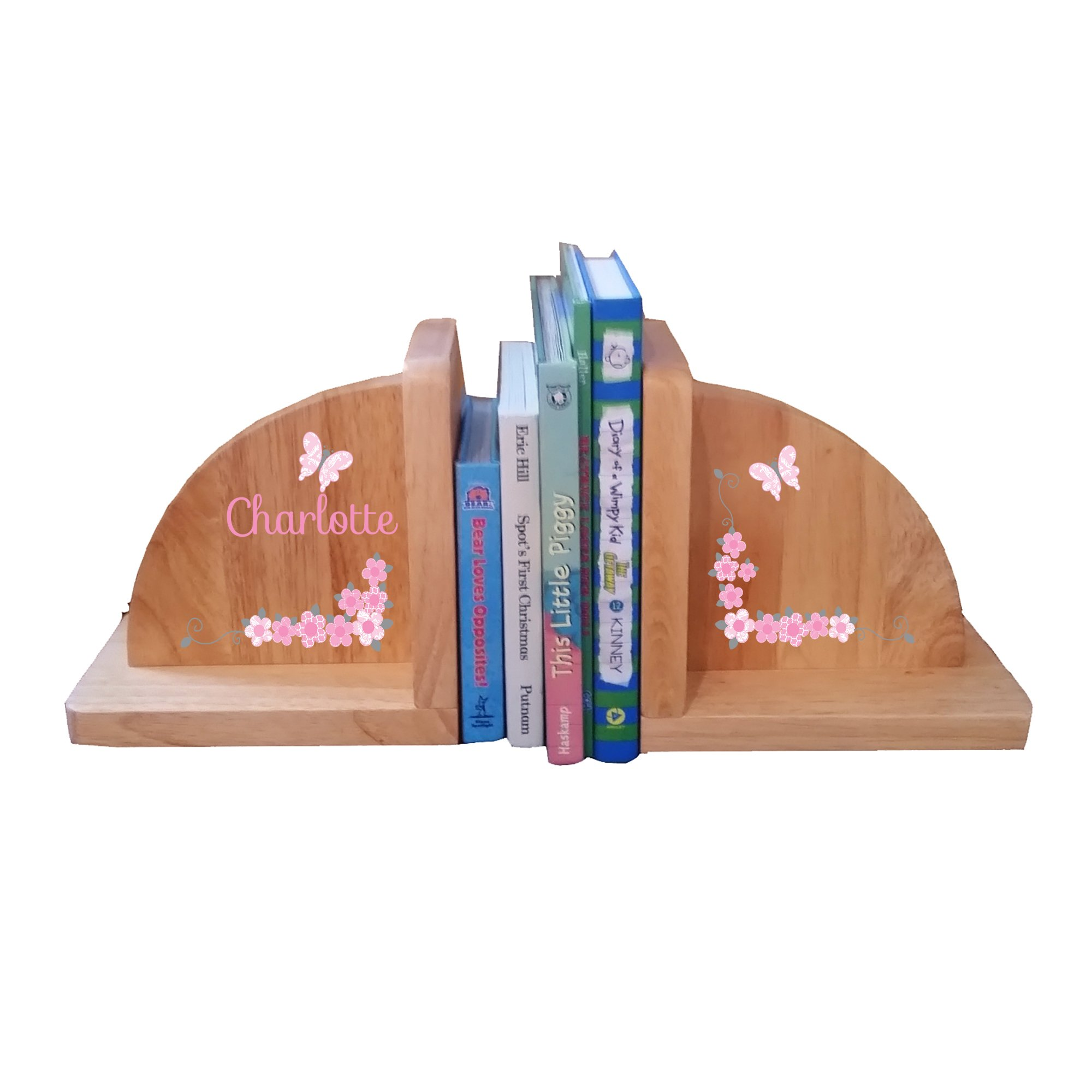 Personalized Butterfly Garland pink gray Natural Childrens Wooden Bookends