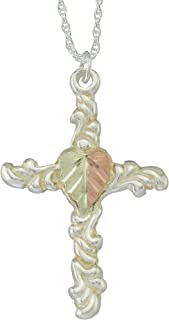 product image for 925 Sterling Silver Black Hills Cross Pendant with 12k Split Leaf