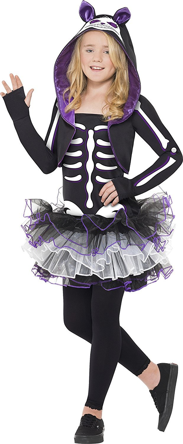 Girls Skelly Cat Costume Halloween Outfit - Age 13+
