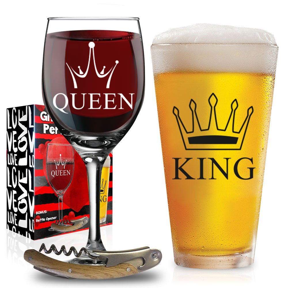 Funny Wedding Gifts King Queen Glasses For Wedding Engagement