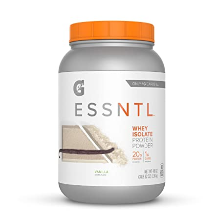 Gatorade G ESSNTL Whey Isolate Protein Powder, Vanilla, 3 Pound Canister 57 servings per canister, 20 grams of protein per serving