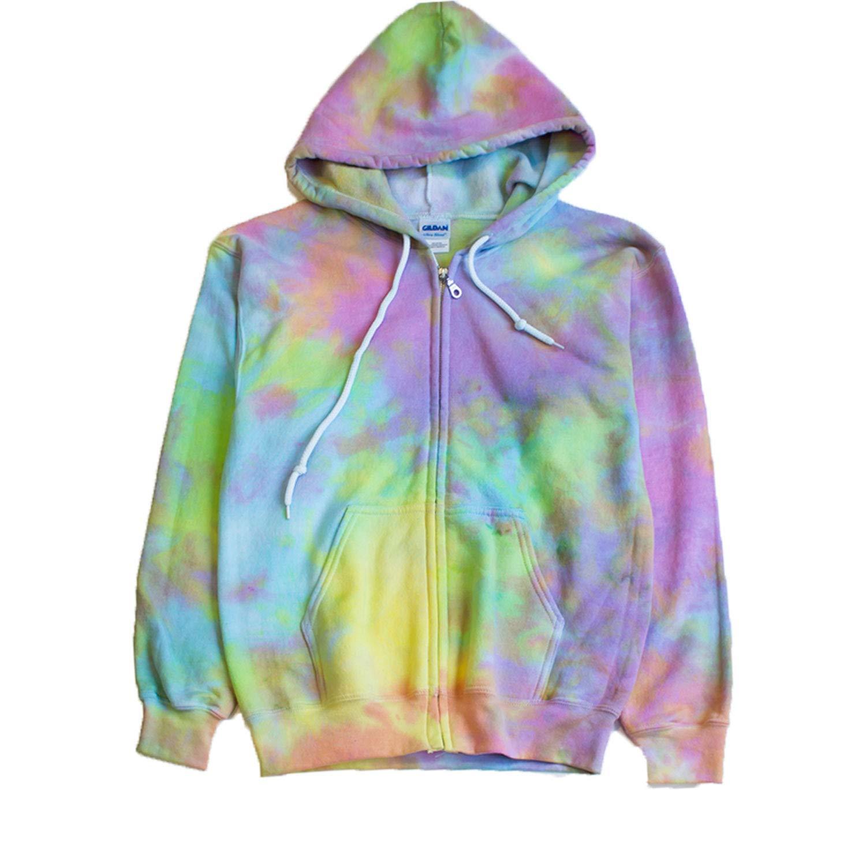 Pastel Goth Tie Dye Zip Hoodie by Masha Apparel
