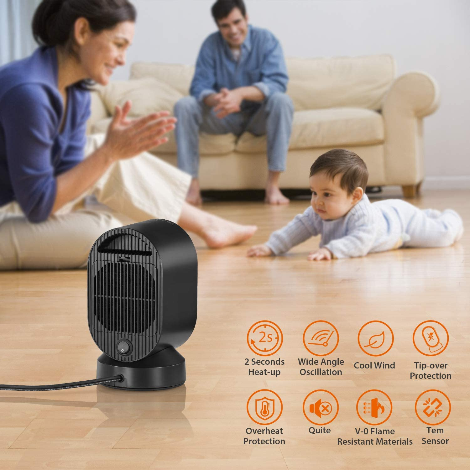 COMLIFE Portable Space Black and Blue Small Desktop Heating Fan with Overheat /& Tip Over Protections for Office Indoor Home 600 W ETL Listed PTC Ceramic Heater with Fan/&Auto Oscillation 600W