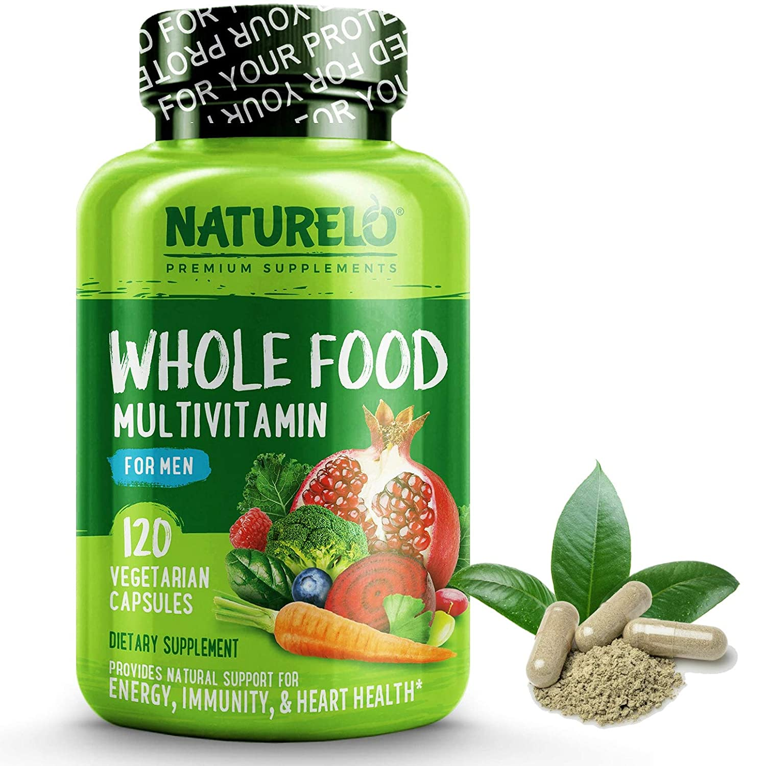 NATURELO Whole Food Multivitamin for Men – with Natural Vitamins, Minerals, Organic Extracts – Vegetarian – Best for Energy, Brain, Heart, Eye Health – 120 Vegan Capsules