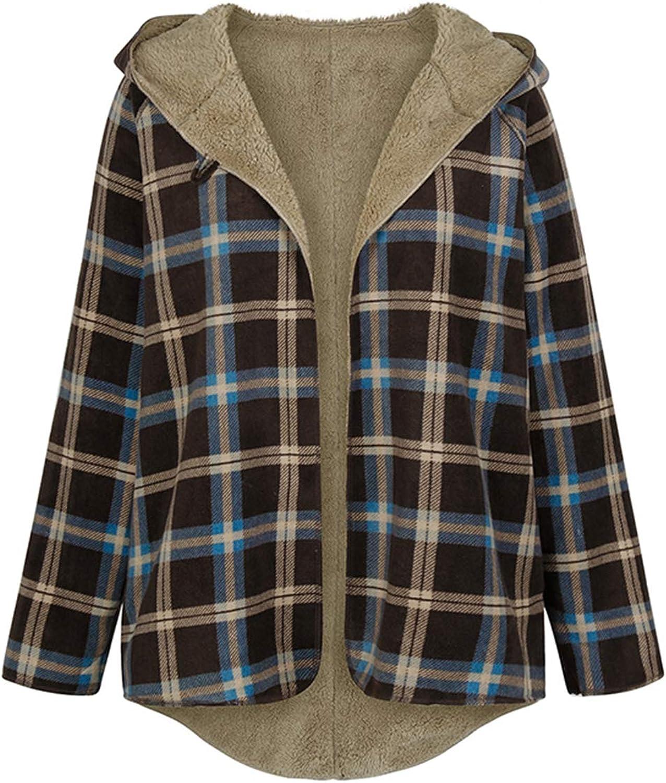 Fixmatti Women Plaid Fluffy Fleece Hooded Open Front Cardigan Cape Long Coat