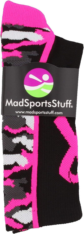 Multiple Colors MadSportsStuff Pink Ribbon Breast Cancer Awareness Camo Athletic Crew Socks