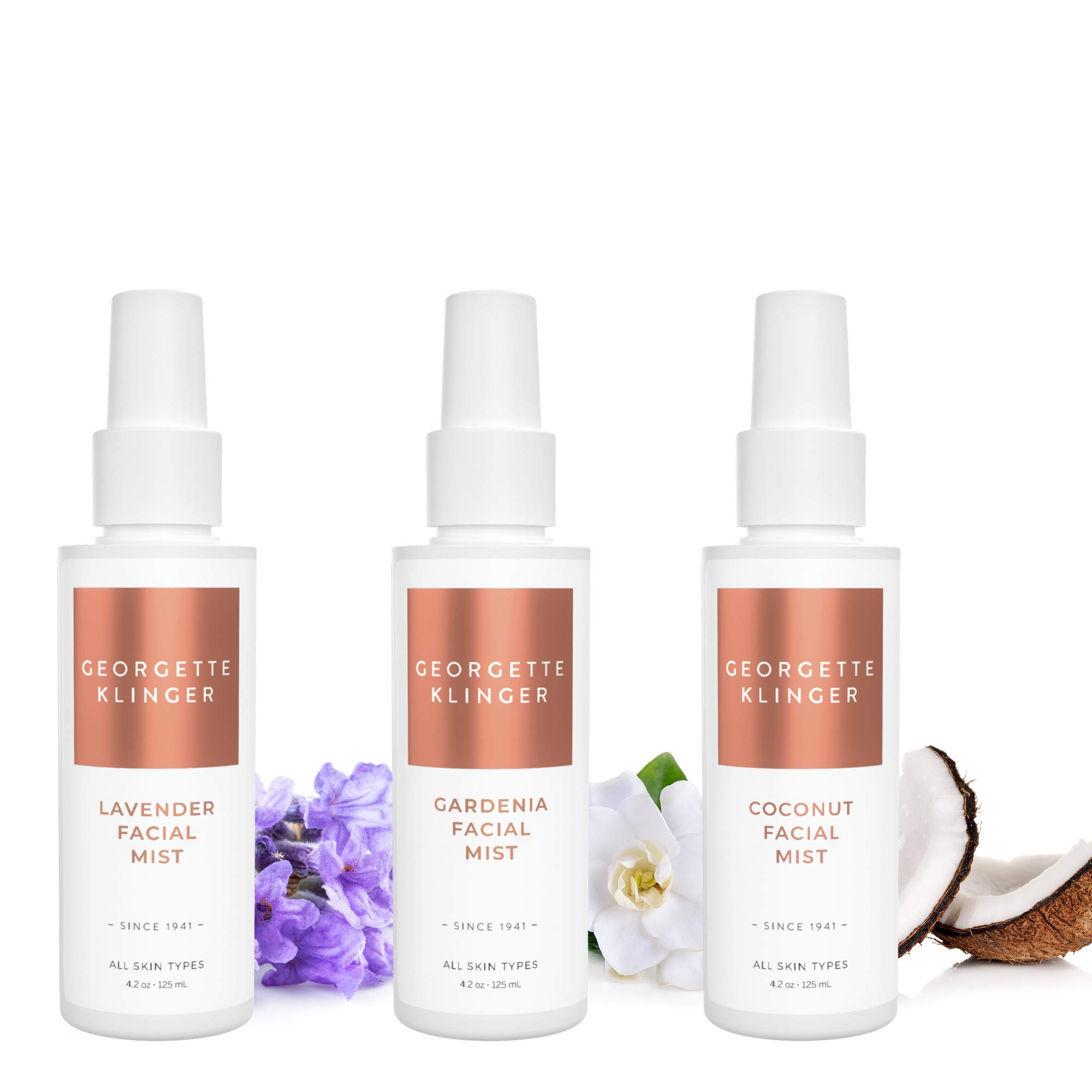Facial Spray Trio Kit by Georgette Klinger - Anti Aging & Calming Lavender - Hydrating Coconut - Soothing Gardenia - Makeup Setting Face Mist Collection