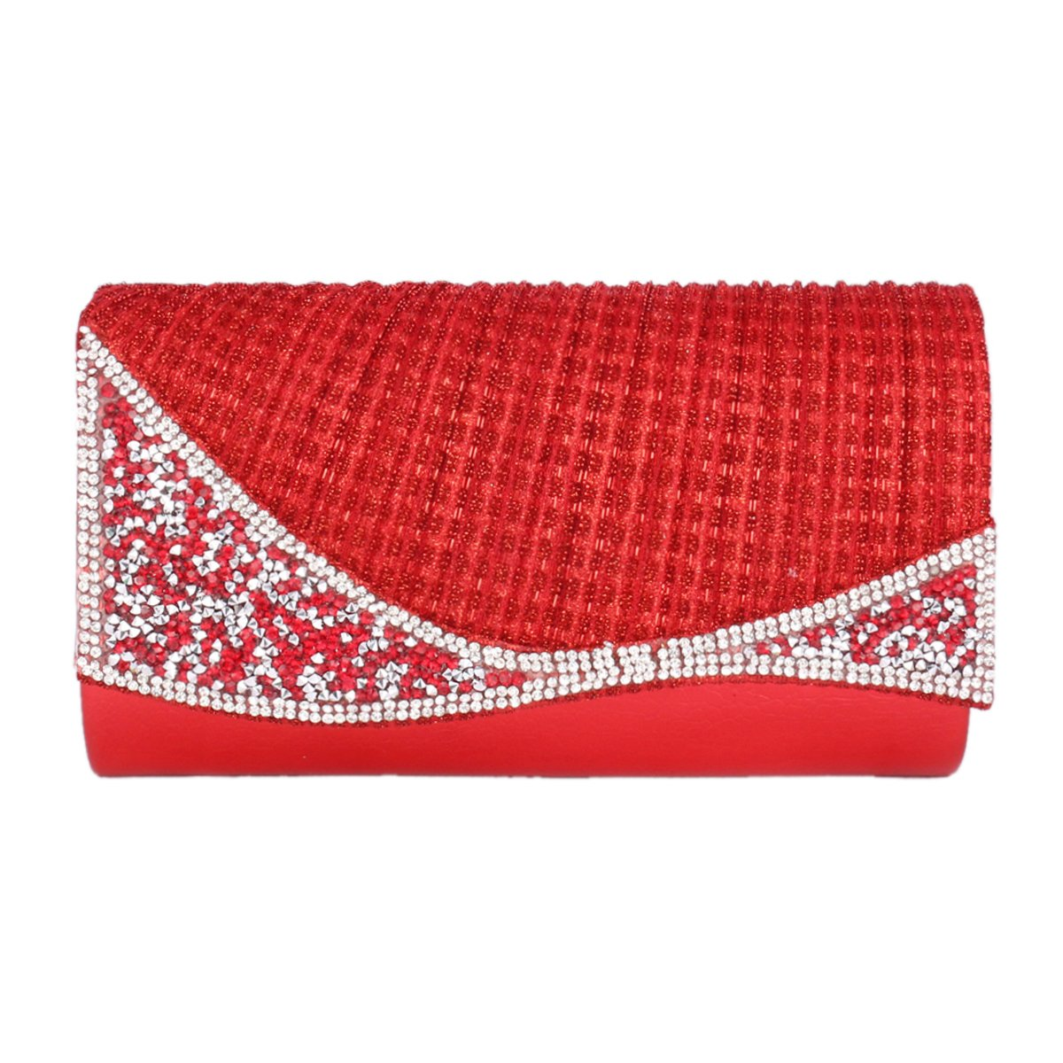 Day of Saturn Women's Irregular Rhinestones Adorn Bling Evening Bag,Red
