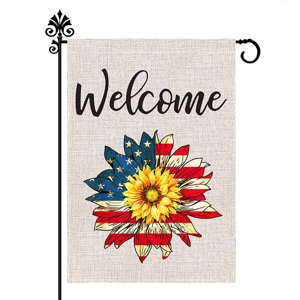 CLKJYF Independence Day Garden Flag, Patriotic Garden Flag 12 x 18 Inch Vertical Double Sided 4th of July Memorial Day American Burlap Flag Sunflower for House Yard Outdoor Decor (12×18 Inch)