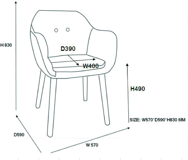 AC Design Furniture 0000061257 1 Sillas de Comedor, Tela, Gasolina Ligera, 59 x 57 x 83 cm Gris Oscuro
