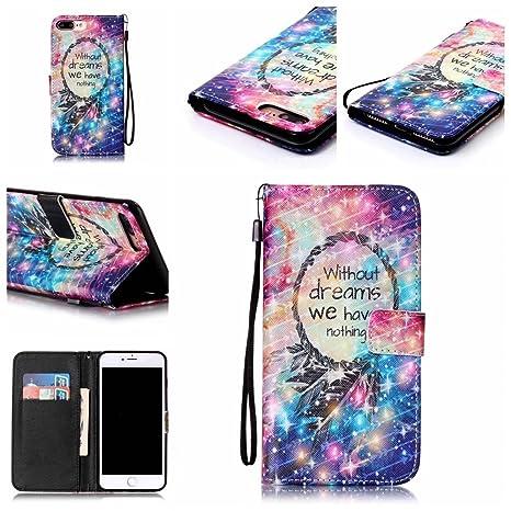 cowx iPhone 8 Plus Funda Piel Sintética Estilo Libro Con Tapa Suave silicona soporte para teléfono