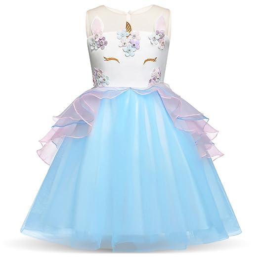 9b1ee92948 ZNYUNE Girls Dress Pageant Party Birthday Ball Gowns Fancy 3D Flower Dress-up  Dresses LightBlue