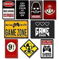 Kit Placas Decorativas Geek Nerd Frases Mdf - 9 Placas