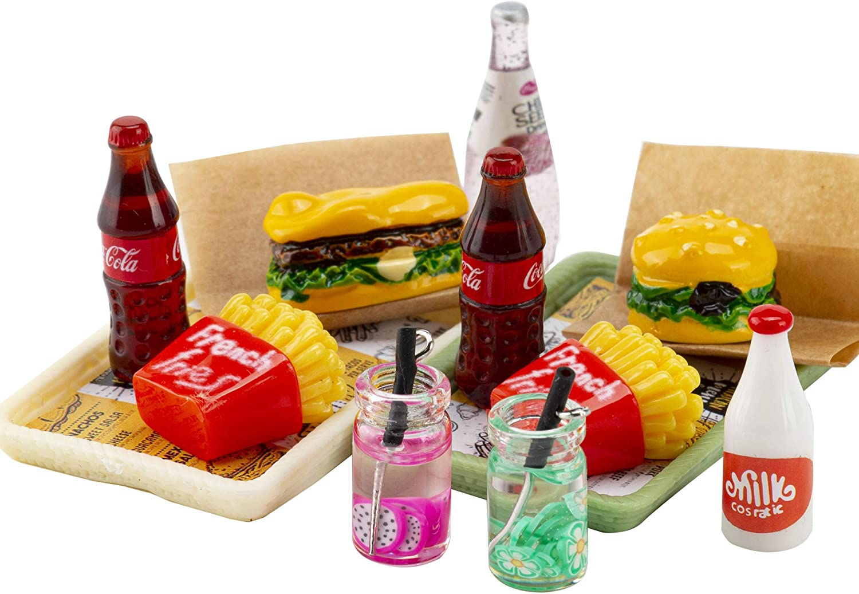 ANNI STAR Miniature Food Toy fits Barbie American Girl Doll Accessories, Hamburger Fries Cola Juice Fast Food Set, Pretend Play Food Toys for Doll, 2Pcs Set