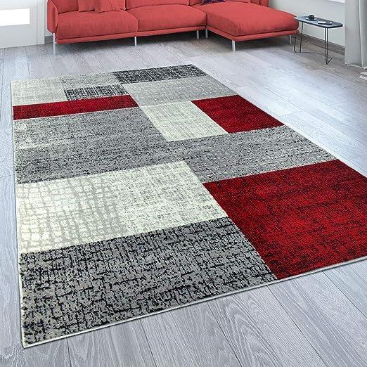 Amazon.de: Designer Wohnzimmer Teppich Modern Kurzflor Karo Design ...
