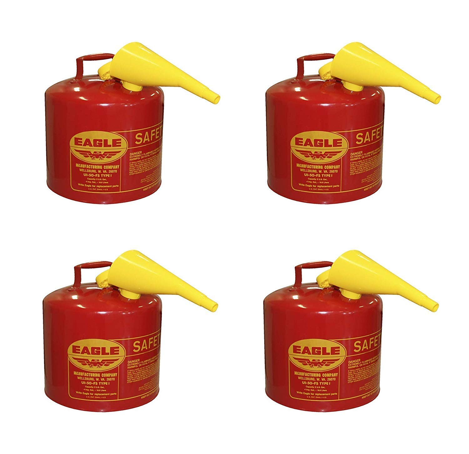 Eagle UI-50-FS Red Galvanized Steel Type I Gasoline Safety Can with Funnel, 5 Gallon Capacity, 13.5'' Height, 12.5'' Diameter (Pack of 4)
