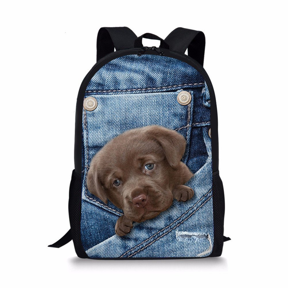 Rosiest School Backpack for Girls Boys for Middle School 4D Animal Print Cat Dog Backpack Student School College Shoulder Bags
