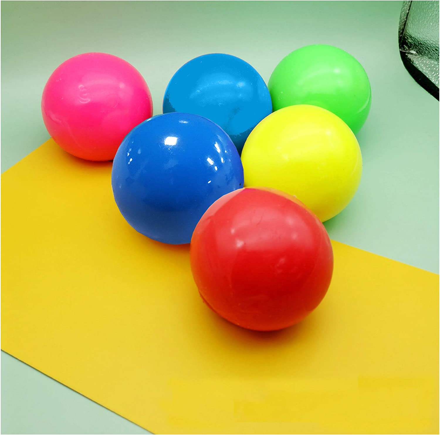 Stick to The Wall and Slowly Fall Off OCD Fun Toy for ADHD Anxiety 6 Pcs Luminescent Stress Relief Balls Sticky Ball Squishy Glow Stress Relief Toys for Kids and Adults Tear-Resistant